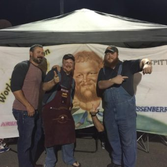 Bart Crawford, Michael, and Lee with non pictured Matt Crawford - The Sons of the Original Pigtails cooking team.